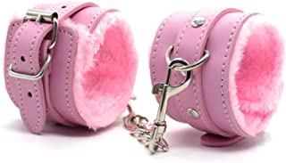 Adjustable PU Leather Handcuffs Soft Plush Metal Wrist Ankle Cuffs Bracelets for Adult Games (Ankle Cuffs, Pink)