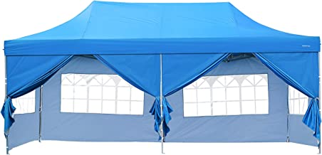 DOIT 10ft x 20ft Outdoor Pop up Shade Instant Folding Canopy with 6 Removable Side Walls,Party Tent,Portable Wheeled Carrying Bag,Blue