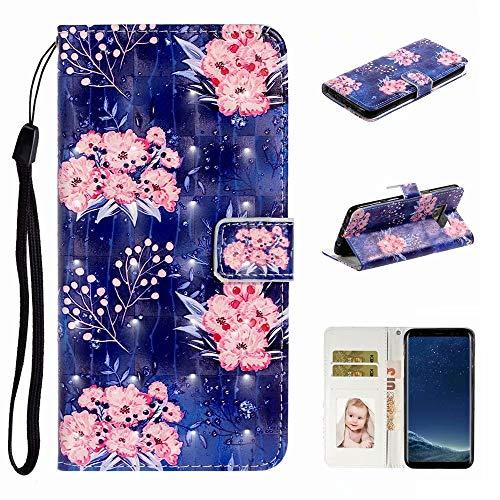 Nadoli Verkörpern 3D Bewirken Elegant Rosa Blumen Entwurf Pu Leder Ständer Karte Halter Magnetisch Lanyard Brieftasche Flip Hülle Tasche für Samsung Galaxy S8