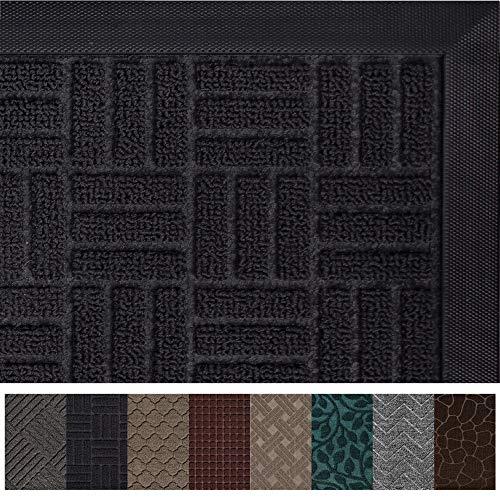 Gorilla Grip Original Durable Rubber Door Mat, 47x35, Heavy Duty Doormat for Indoor Outdoor, Waterproof, Easy Clean, Low-Profile Rug Mats for Entry, Patio, High Traffic Areas, Black Maze
