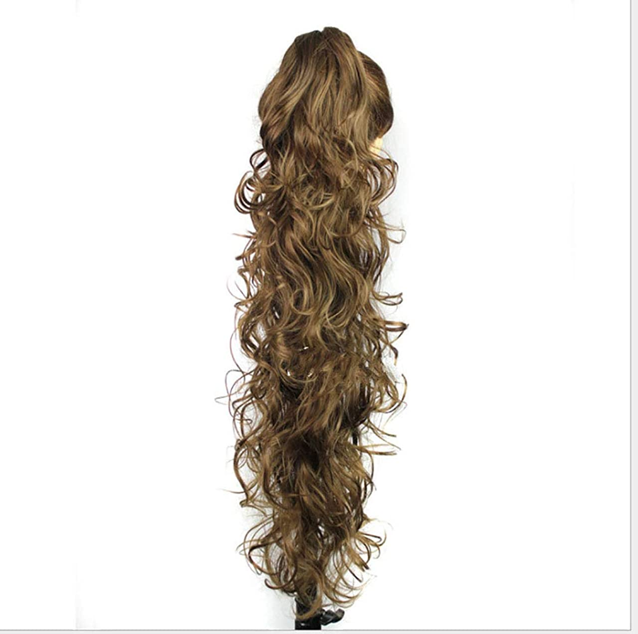 Women's Claw Clip Ponytail Wig Wave Thick Long Roll Wig for Girls and Ladies,A