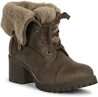 Women Faux Fur Cuff Stacked Lug Sole Chunky Heel Combat Boot SE43