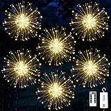 Fuegos artificiales Luces,Starburst de jardín 120 LED de fuegos Luces,Cadena Luces LED Navidad Guirnaldas Luminosas Fuegos Alambre, 8 Modos de Iluminación con Control Remoto