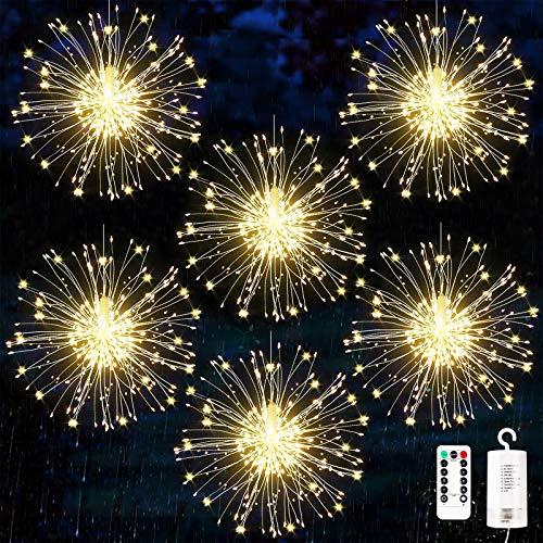 Luci Fuochi d'Artificio,Luci Fatate Natalizie, Luci Natalizi da Esterno,Catena Luminosa Filo di Rame con 120 LED,Luci Addobbi Natalizi,Stringa Lampada Luci 8 modalità