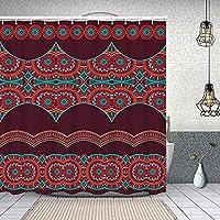 シャワーカーテン抽象的なベクトル装飾的な民族のシームレスなストライプ 防水 目隠し 速乾 高級 ポリエステル生地 遮像 浴室 バスカーテン お風呂カーテン 間仕切りリング付のシャワーカーテン 180 x 180cm