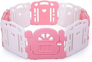 Tobbi Baby Playpen Safety Play Center Yard Baby Kids Home Indoor Outdoor Pen 8 Panel Pink + White