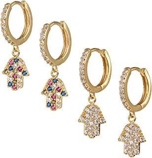 Hypoallergenic Huggie Hoop Earrings - Tiny Earrings With Cubic Zirconia - Perfect Fit Mini Gold Colored Hoops For Women And Men Earring - Small Dangle Earings Set Of 2 Pairs