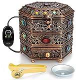 AM Regulator Electric Incense Burner - Oud Frankincense Resin Burner with Adjustable Timer & Storage Drawer (Copper)