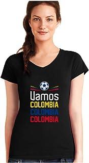 Camiseta de Cuello V para Mujer - Apoyemos a la Selección Colombia en el Mundial!