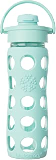 Lifefactory 16-Ounce BPA-Free Glass Water Bottle with Flip Cap and Protective Silicone Sleeve, Turquoise,