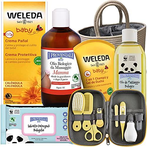 Canastilla Regalo Recién Nacido .Set de productos BIO de siete productos con bolsa de algodón y set de cuidado