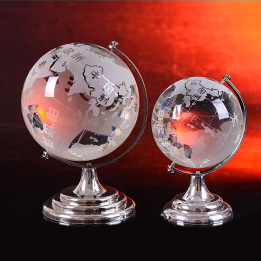 FC Fancy Popular standard World Globe Map Opening large release sale Clear Stand Offic Glass Crystal