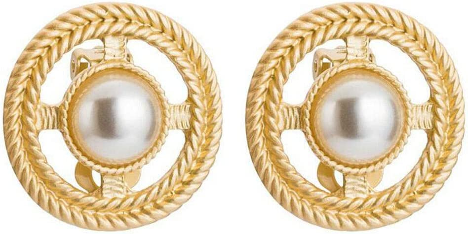 Fashion Women Round Gold Pearl Statement Alloy Pendant Clip-On Earrings Jewelry