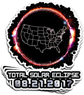 Hanabi 3 PCs Stickers Total Solar Eclipse August 21 2017 USA Flag 3×4 Inch Die-Cut Wall Decals for Laptop Window