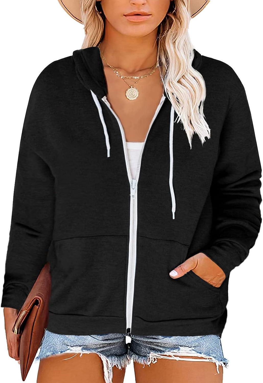 ROSKIKI Women's Casual Plus Size Long Sleeve Zip Up Hooded Side Pocket Outwear Coat