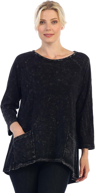 Jess & Jane Women's Black Mineral Washed Patch Pocket Cotton Tunic