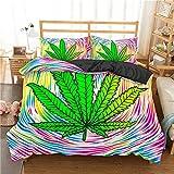 Juego de Ropa de Cama de Hojas de Marihuana Funda de Cama Doble...