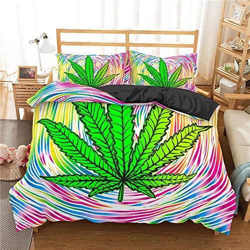 Juego de Ropa de Cama de Hojas de Marihuana Funda de Cama Doble Individual Funda de Almohada Funda de edredón Ropa de Cama 200 * 200 cm 1