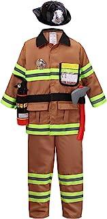 Tan Fireman Costume for Kids, Boys' and Girls' Firefighter Dress up (7 pcs)