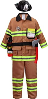 yolsun Tan Fireman Costume for Kids, Boys' and Girls' Firefighter Dress up (7 pcs)
