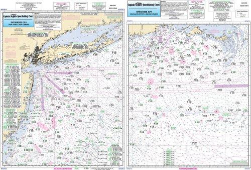Offshore MA, RI, CT, NY, NJ - Laminated Nautical Navigation & Fishing Chart by Captain Segull's Nautical Sportfishing Charts | Chart # OFGPS18