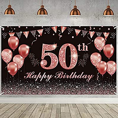 Amazon - 50% Off on Happy 50th Birthday Backdrop for Women Large Pink Gold Birthday