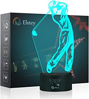 Golf 3D Night Light Touch Table Desk Optical Illusion Lamps, Elstey 7 Color Changing Lights with Acrylic Flat & ABS Base & USB Cable Decoration LED Lamps for Holiday Gift
