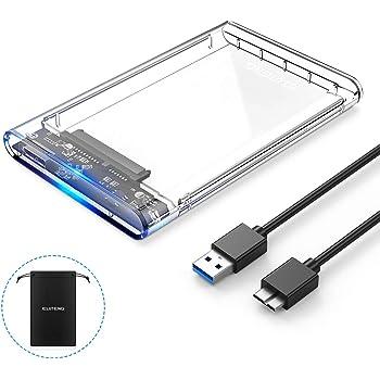 ELUTENG 2.5インチ HDD ケース USB3.0 SSD ボックス SATA III 外付けハードディスク 5Gbps 高速データ転送 UASP対応 透明シリーズ ポータブル SSD ドライブ ケース 120GB 128GB 240GB 256GB 500GB 512GB 1TB 2TB など対応 2139U3 けーす