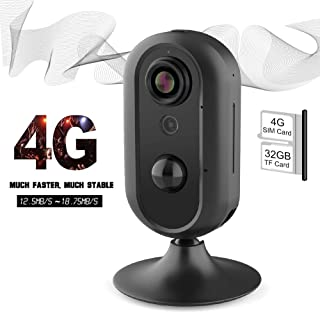 4G LTE Home Security Camera, Lncoon Indoor Wireless WiFi IP Camera Surveillance Security System Camera Mobile Security with Live Video/Night Vision/Two Way Audio/Motion Alert for Baby, Pet Monitoring