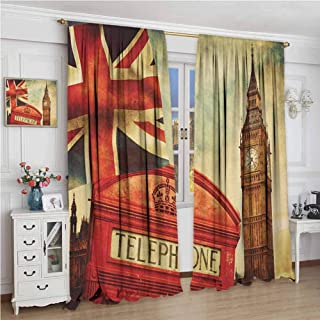 GUUVOR London Wear-Resistant Color Curtain Vintage Style Symbols of London with National Flag UK Great Britain Old Clock Tower Waterproof Fabric W96 x L108 Inch Multicolor