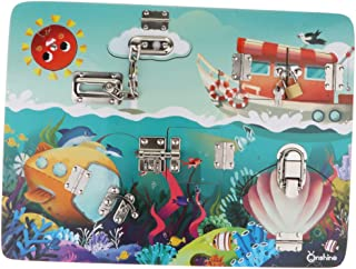 Wooden Lock and Latch Board Puzzle Game Toddler Child Toy Motor Skills - Ocean Pattern, as described