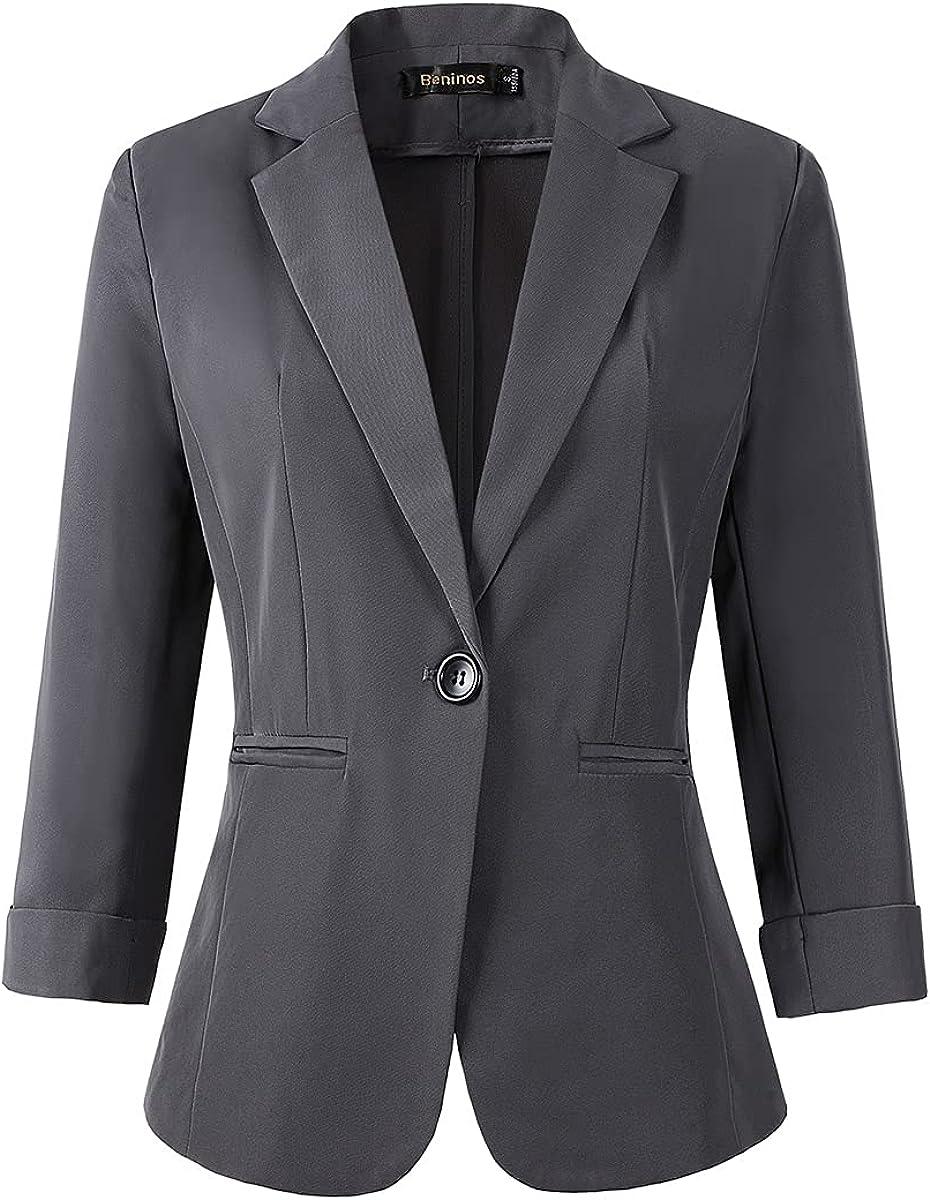 Womens 3/4 Sleeve Lightweight Office Work Suit Jacket Boyfriend Blazer at  Women's Clothing store