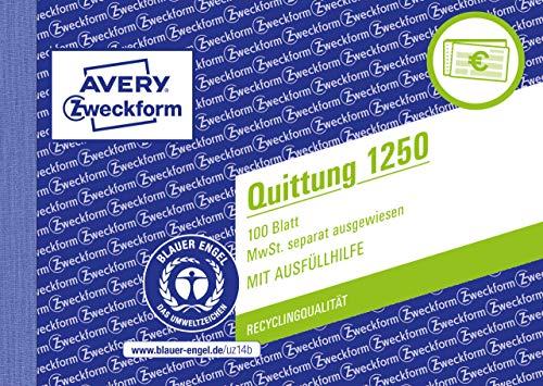 AVERY Zweckform 1250 kwitantieblok (A6 dwars, 100 vellen, onvervalsbaar, apart vermelde btw, met 1 vel blauw papier, voor Duitsland en Oostenrijk) wit