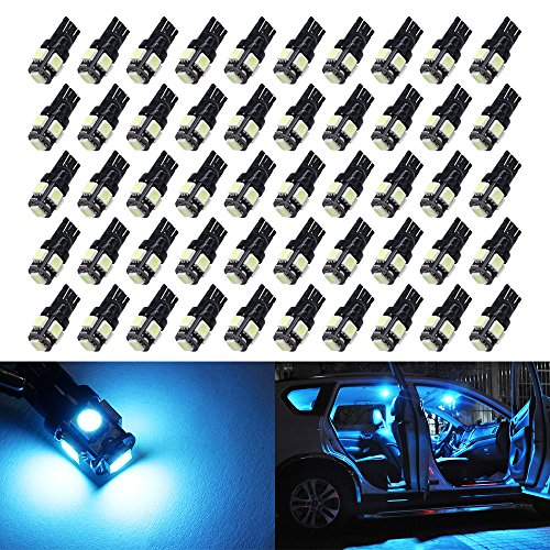 50X T10 Ice Blue LED bulbs Wedge 5-SMD 5050 Chipsets W5W 2825 158 192 168 194 led bulb for Interior Reading Dome Map Trunk Door Doorstep Courtesy Instrument Panel License Plate Side marker Lights.