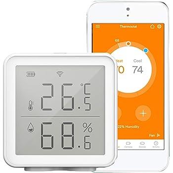 Kecheer Termómetro higrómetro WIFI digital,Termómetro humedad y temperatura con alarma compatible con Alexa,Termometro ambiente interior casa