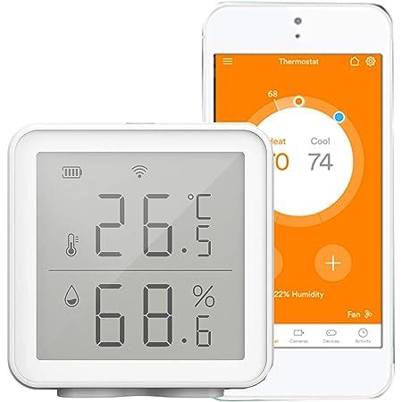 Kecheer Termómetro higrómetro WIFI digital, Termómetro humedad y temperatura con alarma compatible con Alexa/Google, Termometro ambiente interior casa,Smart Life/Tuya app