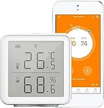 WiFi Sensor de humedad de temperatura inteligente Compatible con Alexa Google Assistant Higrómetro digital inalámbrico de rango súper largo de 230 pies Termómetro de interior Medidor de humedad