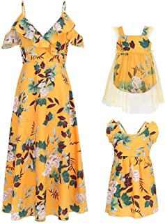 Mumetaz Mommy and Me Floral Print Cold Shoulder V-Neck Ruffle Backless Family Matching Clothes