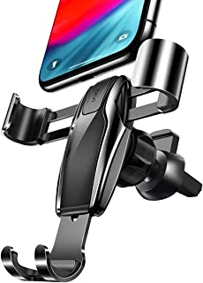 AINOPE Cell Phone Holder for Car, Gravity Car Phone Mount Auto-Clamping Air Vent Car Phone Holder Universal Car Phone Mount Compatible iPhone Xs MAX/X/XR/8/7, Galaxy Note 9/S10 Plus/S9 - Black (Divi)