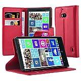 Cadorabo Hülle für Nokia Lumia 929/930 - Hülle in Karmin ROT – Handyhülle mit Kartenfach & Standfunktion - Case Cover Schutzhülle Etui Tasche Book Klapp Style