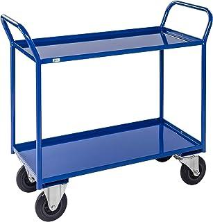 KM 2 plank alle gelaste trolley zwaar, met remmen, with Lip, Blauw