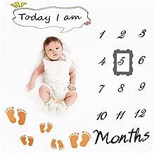 """LEHOUR Baby Monthly Milestone Blanket for Girl Boy, 47""""x47"""" Fleece Blanket for Newborn"""