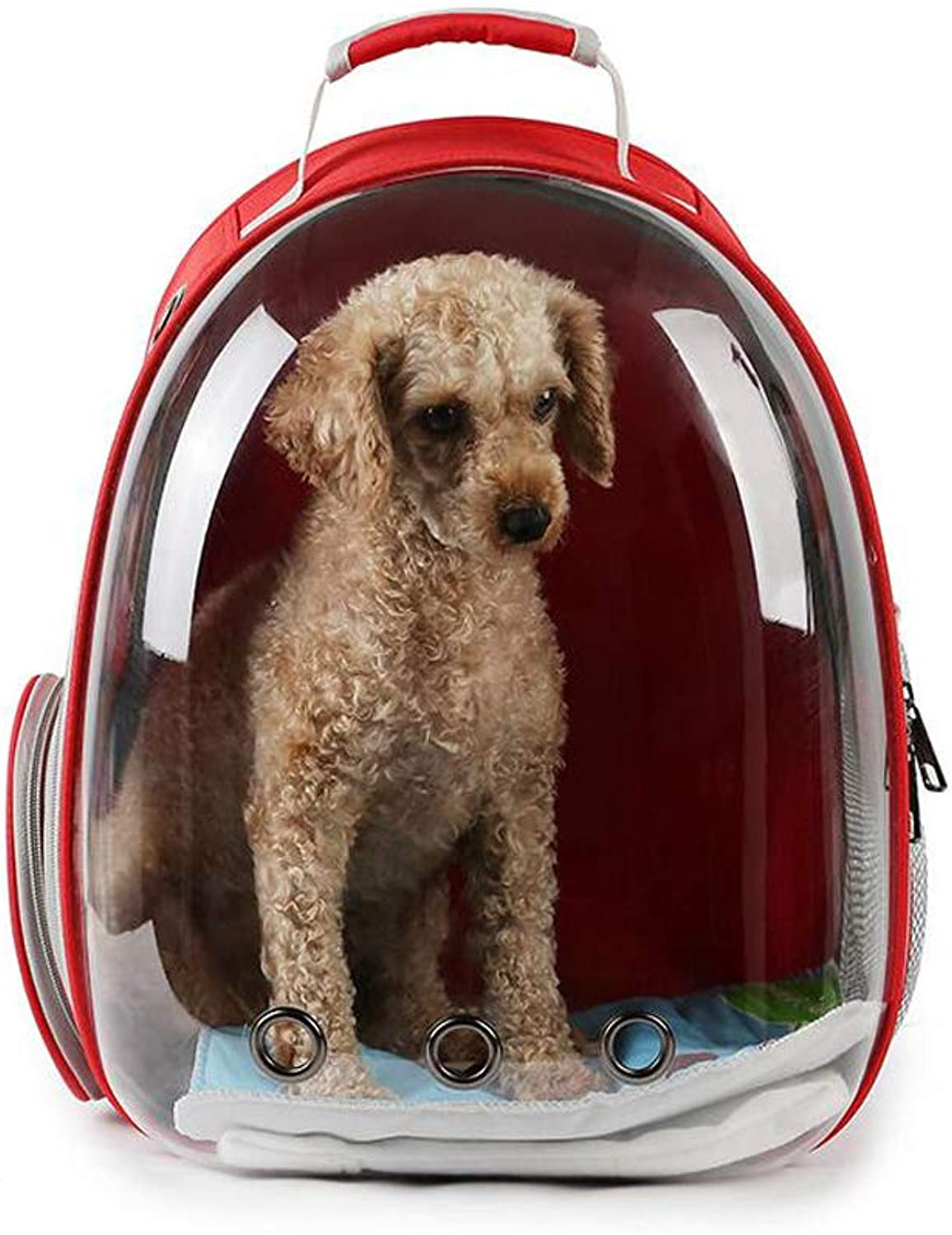 180° Space Capsule Pet Backpack, PVC Waterproof and Breathable Comfortable Pet Chest Backpack, Carrying Dogs, Cats, Small Animals,Red