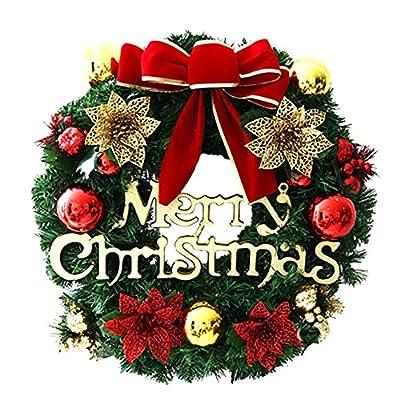2018 Merry Christmas Wreath Decor, Cuekondy Bowknot Berries Ornaments Garland Front Door Wreaths Indoor Outdoor Window Door Wall Hanging Decoration for Xmas Party Home Decor