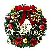 Homebaby Ghirlanda natalizia decorativa Ghirlande natalizie per porta d'ingresso da 30cm Decorazioni per esterni vintage Fiore artificiale Ghirlanda di ornamento di muro