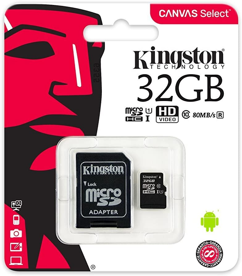 Kingston 32GB SDHC Micro Canvas Select Memory Card and Adapter Works with Samsung Galaxy A50, A40, A30 Cell Phone (SDCS/32GB) Bundle with (1) Everything But Stromboli MicroSD and SD Card Reader