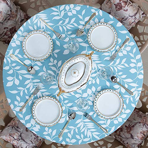 Round Elastic Fitted Edged Flannel Backed Vinyl Table Cover - White Leaves Sky Blue - (Small 40'-44', Sky Blue)