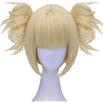 JoneTing Blonde Cosplay Wig with Bangs Synthetic Blonde Wig with Ponytails for Women