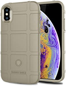 iPhone Xs case, iPhone X case, LABILUS (Rugged Shield Series) TPU Thick Solid Armor Tactical Protective Cover Case for iPhone Xs (5.8 inch), iPhone X (5.8 inch) - Light Clay