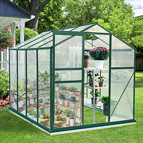 AECOJOY 8'Lx6'Wx6.6'H Walk-in Garden Greenhouse, Polycarbonate Greenhouse with Adjustable Roof Vent, Rain Gutter and Sliding Door for Winter